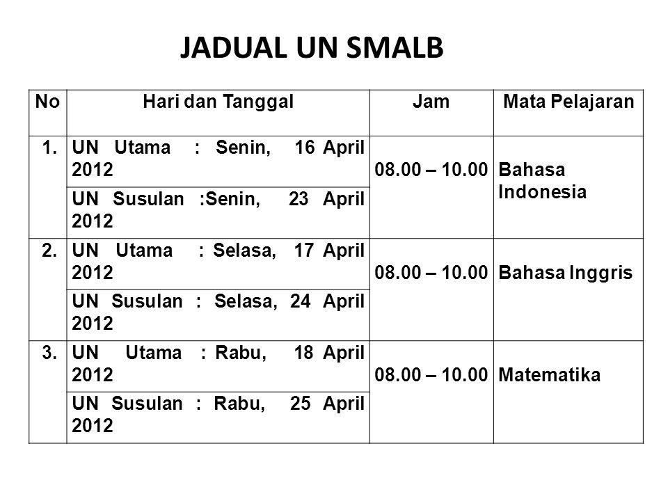 NoHari dan TanggalJamMata Pelajaran 1.UN Utama : Senin, 16 April 201208.00 – 10.00Bahasa Indonesia UN Susulan :Senin, 23 April 2012 2.UN Utama : Selasa, 17 April 201208.00 – 10.00Bahasa Inggris UN Susulan : Selasa, 24 April 2012 3.UN Utama : Rabu, 18 April 201208.00 – 10.00Matematika UN Susulan : Rabu, 25 April 2012 JADUAL UN SMALB
