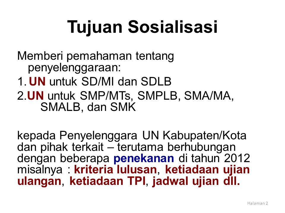 Tujuan Sosialisasi Memberi pemahaman tentang penyelenggaraan: 1. UN untuk SD/MI dan SDLB 2.UN untuk SMP/MTs, SMPLB, SMA/MA, SMALB, dan SMK kepada Peny