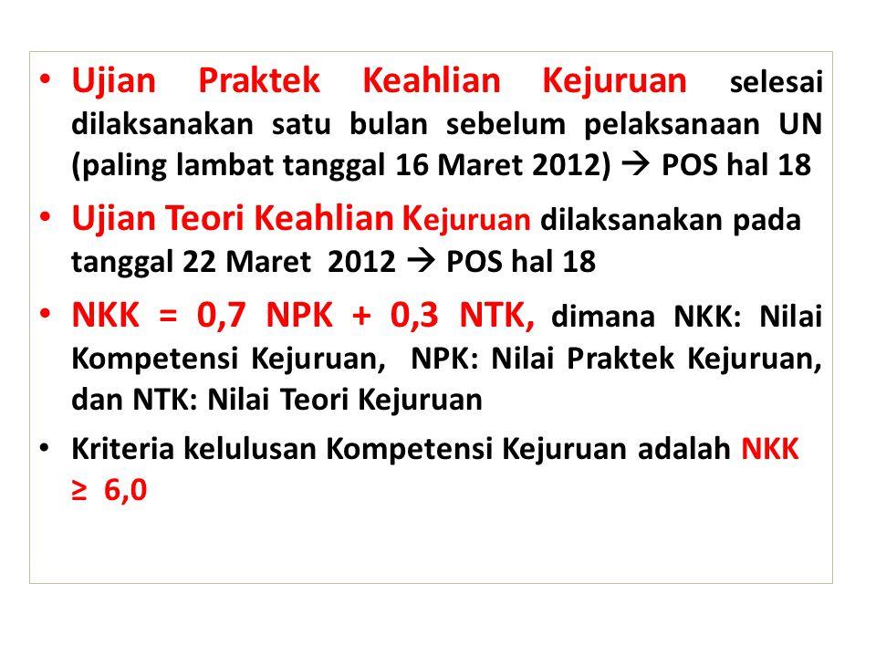 Ujian Praktek Keahlian Kejuruan selesai dilaksanakan satu bulan sebelum pelaksanaan UN (paling lambat tanggal 16 Maret 2012)  POS hal 18 Ujian Teori Keahlian K ejuruan dilaksanakan pada tanggal 22 Maret 2012  POS hal 18 NKK = 0,7 NPK + 0,3 NTK, dimana NKK: Nilai Kompetensi Kejuruan, NPK: Nilai Praktek Kejuruan, dan NTK: Nilai Teori Kejuruan Kriteria kelulusan Kompetensi Kejuruan adalah NKK ≥ 6,0