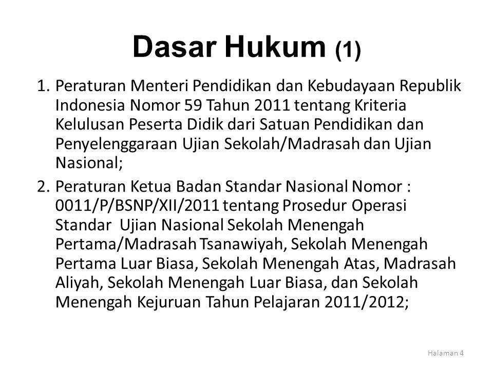 Dasar Hukum (1) 1.Peraturan Menteri Pendidikan dan Kebudayaan Republik Indonesia Nomor 59 Tahun 2011 tentang Kriteria Kelulusan Peserta Didik dari Sat