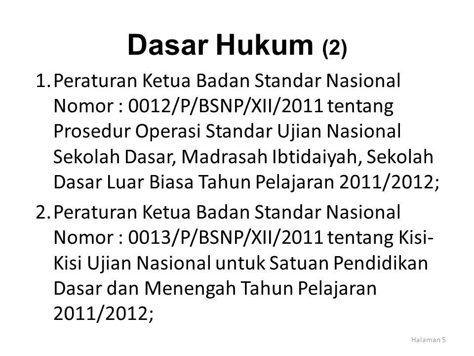 Dasar Hukum (2) 1.Peraturan Ketua Badan Standar Nasional Nomor : 0012/P/BSNP/XII/2011 tentang Prosedur Operasi Standar Ujian Nasional Sekolah Dasar, M