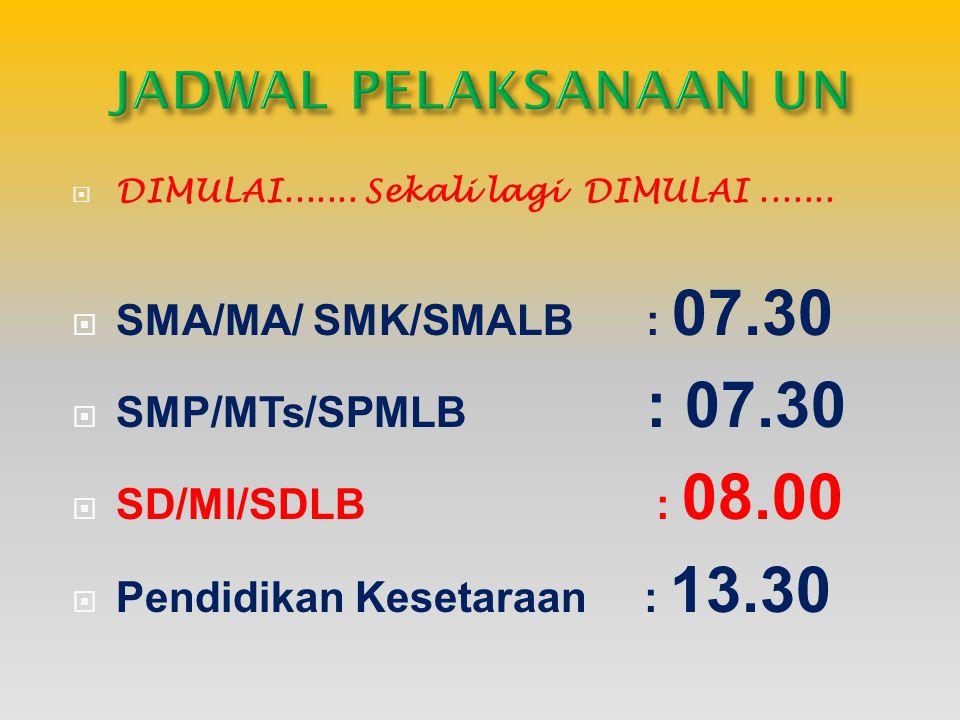  DIMULAI....... Sekali lagi DIMULAI.......  SMA/MA/ SMK/SMALB : 07.30  SMP/MTs/SPMLB : 07.30  SD/MI/SDLB : 08.00  Pendidikan Kesetaraan : 13.30