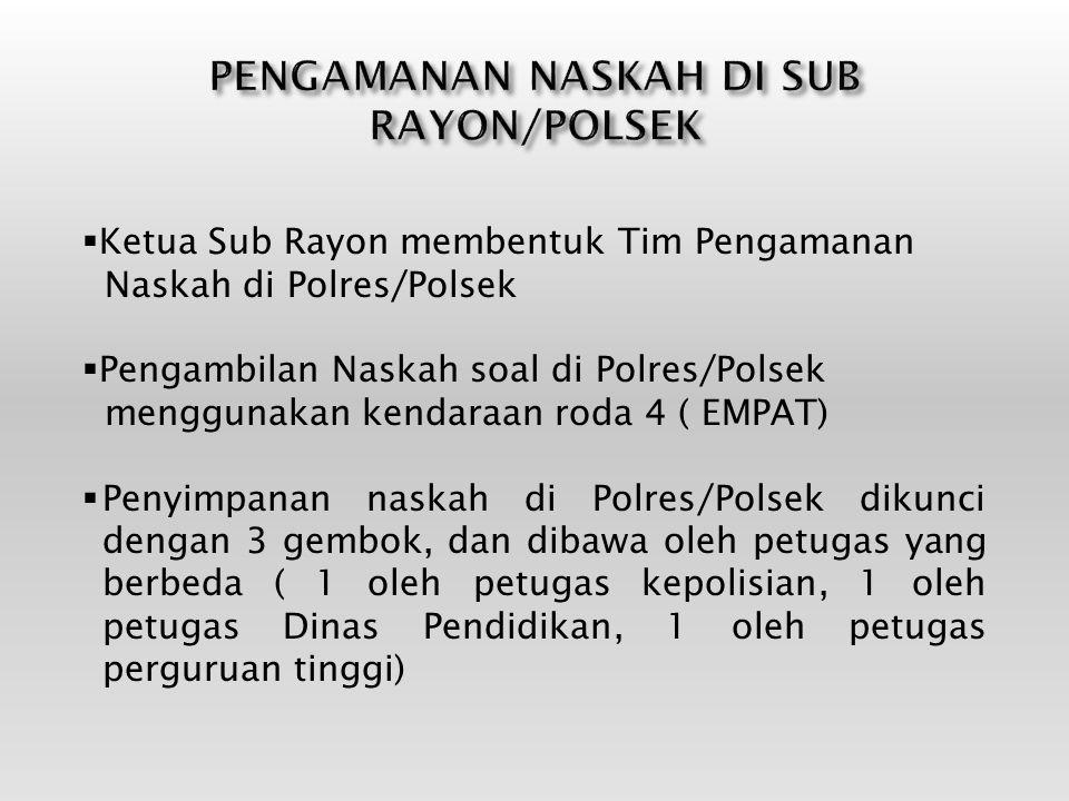  Ketua Sub Rayon membentuk Tim Pengamanan Naskah di Polres/Polsek  Pengambilan Naskah soal di Polres/Polsek menggunakan kendaraan roda 4 ( EMPAT) 