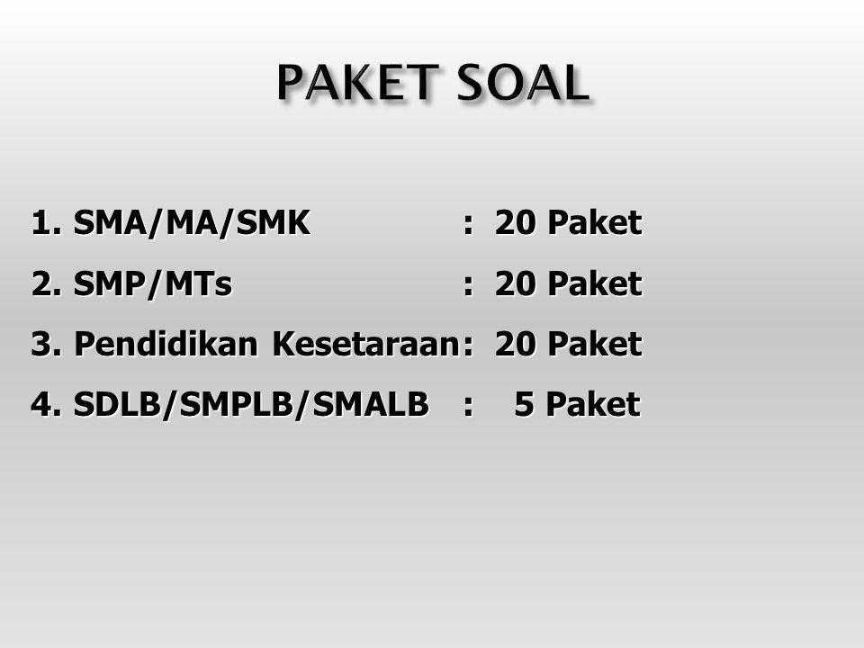1.SMA/MA/SMK : 20 Paket 2.SMP/MTs: 20 Paket 3.Pendidikan Kesetaraan: 20 Paket 4.SDLB/SMPLB/SMALB: 5 Paket