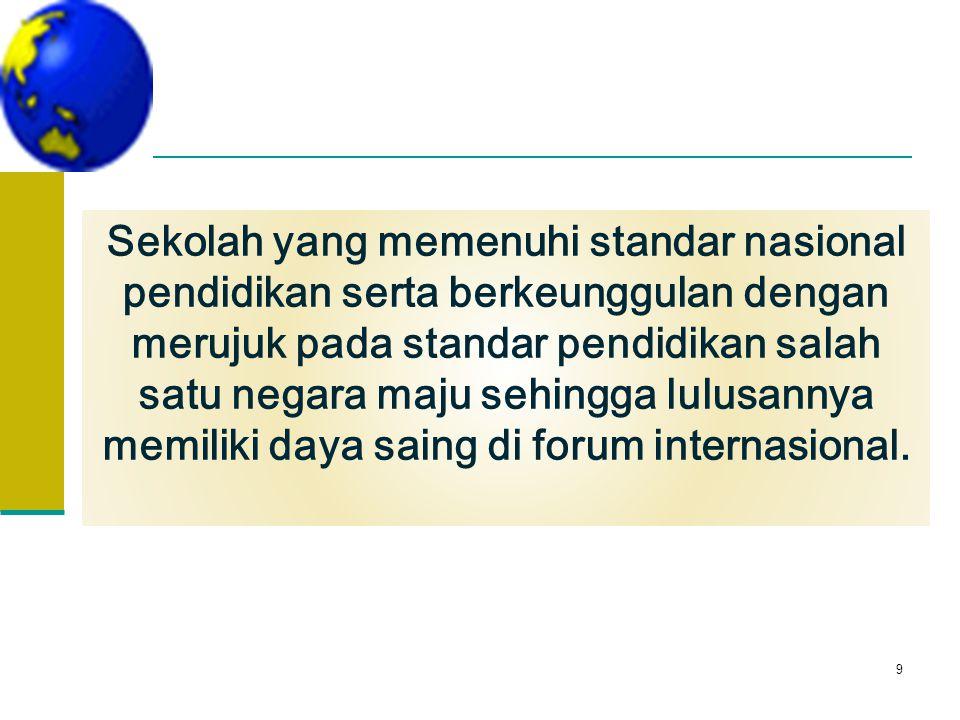 Sekolah yang memenuhi standar nasional pendidikan serta berkeunggulan dengan merujuk pada standar pendidikan salah satu negara maju sehingga lulusannya memiliki daya saing di forum internasional.
