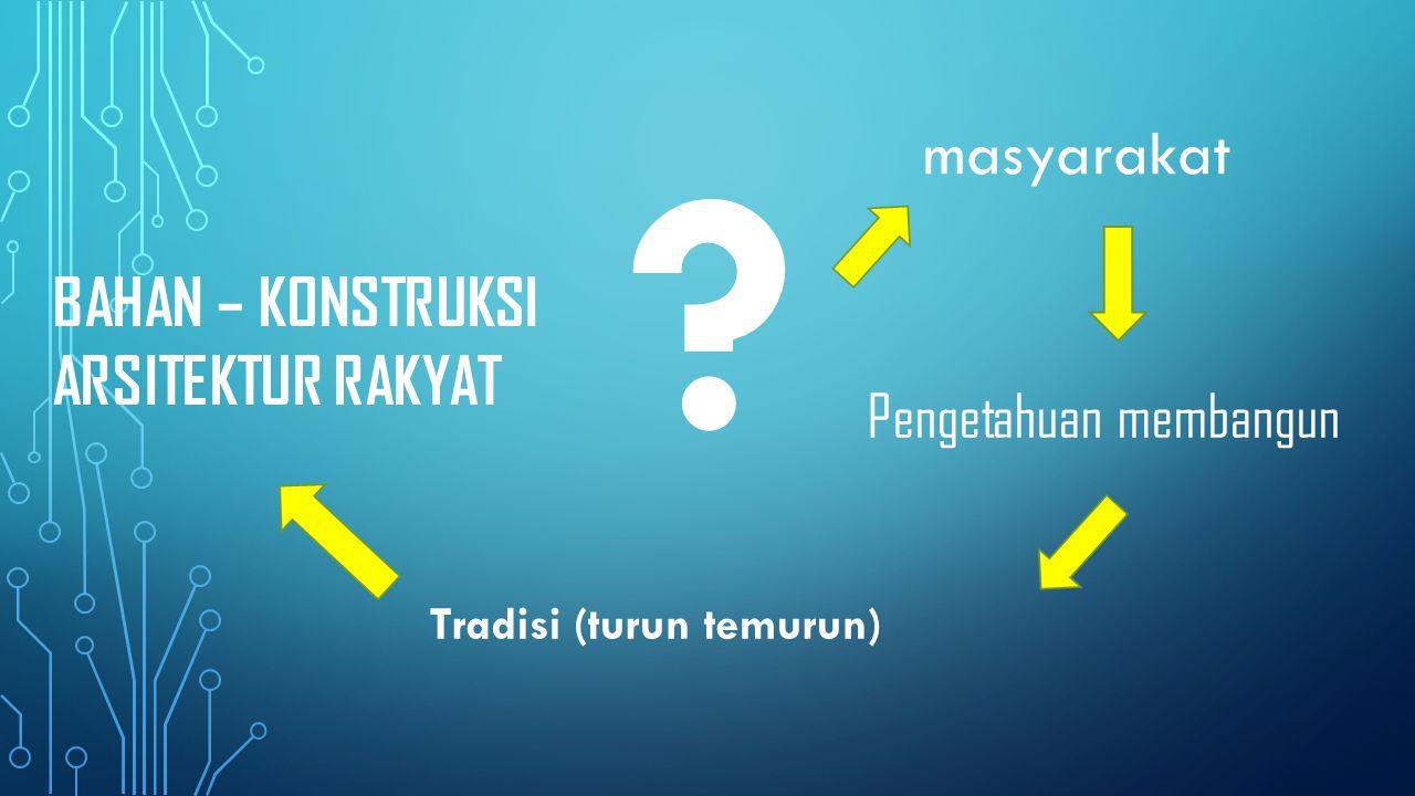 Masyarakat Jawa - rural agraris Masyarakat Nusantara Cara yang sederhana = teknologi lokal Konstruksi Perhitungan rasional (tektonika) Bahan (bangunan) alami Menggabungkan bahan dengan bahan lain