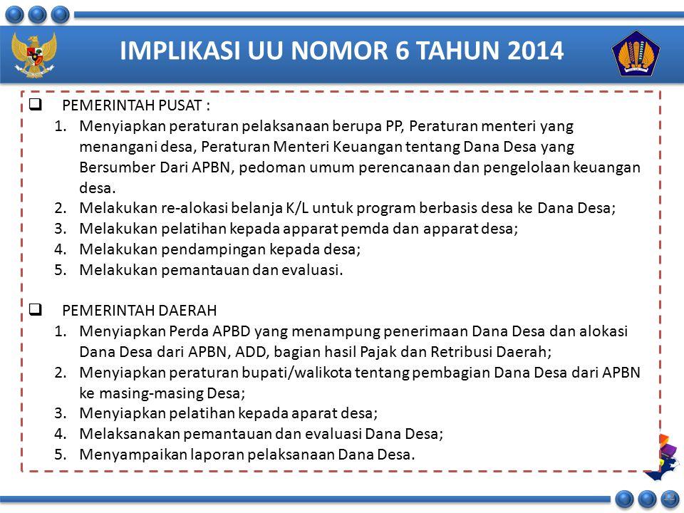 IMPLIKASI UU NOMOR 6 TAHUN 2014 12  PEMERINTAH PUSAT : 1.Menyiapkan peraturan pelaksanaan berupa PP, Peraturan menteri yang menangani desa, Peraturan