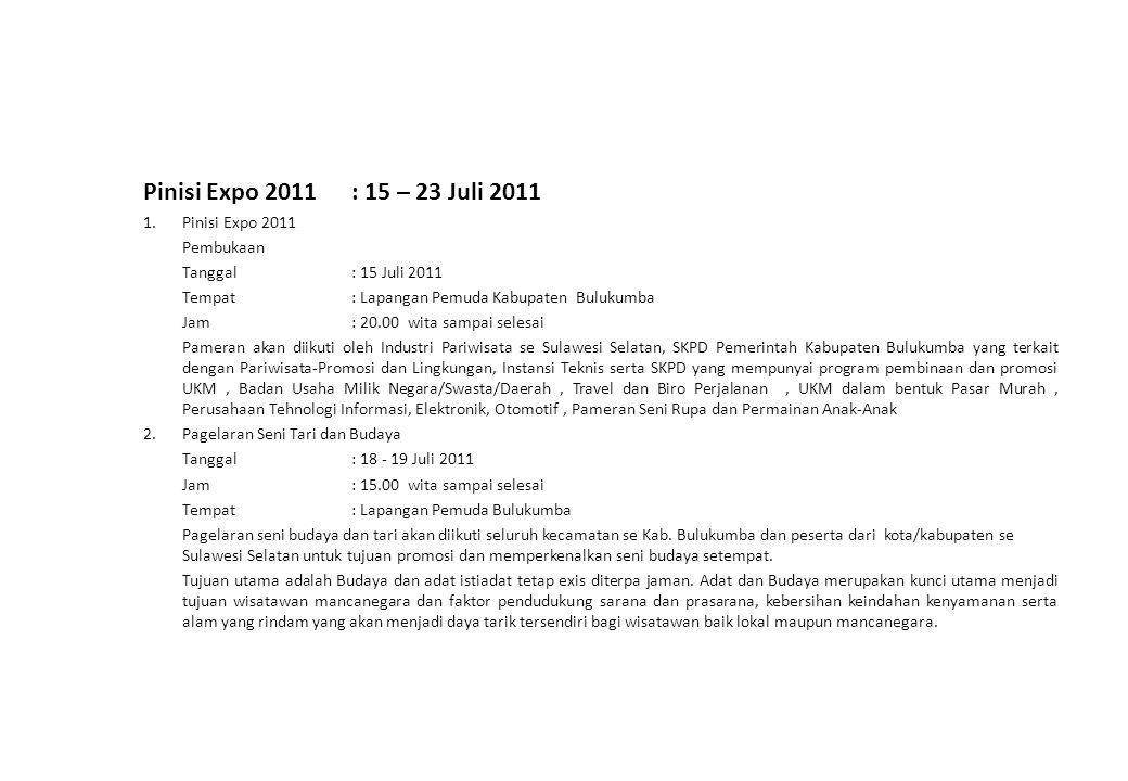 Pinisi Expo 2011: 15 – 23 Juli 2011 1. Pinisi Expo 2011 Pembukaan Tanggal: 15 Juli 2011 Tempat: Lapangan Pemuda Kabupaten Bulukumba Jam: 20.00 wita sa