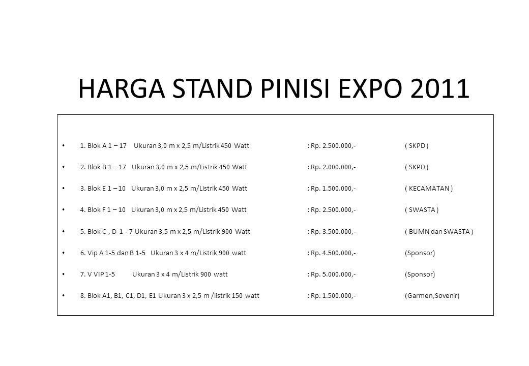 HARGA STAND PINISI EXPO 2011 1. Blok A 1 – 17 Ukuran 3,0 m x 2,5 m/Listrik 450 Watt: Rp. 2.500.000,- ( SKPD ) 2. Blok B 1 – 17 Ukuran 3,0 m x 2,5 m/Li