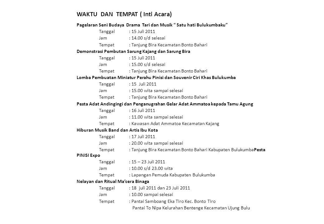 "WAKTU DAN TEMPAT ( Inti Acara) Pagelaran Seni Budaya Drama Tari dan Musik "" Satu hati Bulukumbaku"" Tanggal : 15 Juli 2011 Jam: 14.00 s/d selesai Tempa"