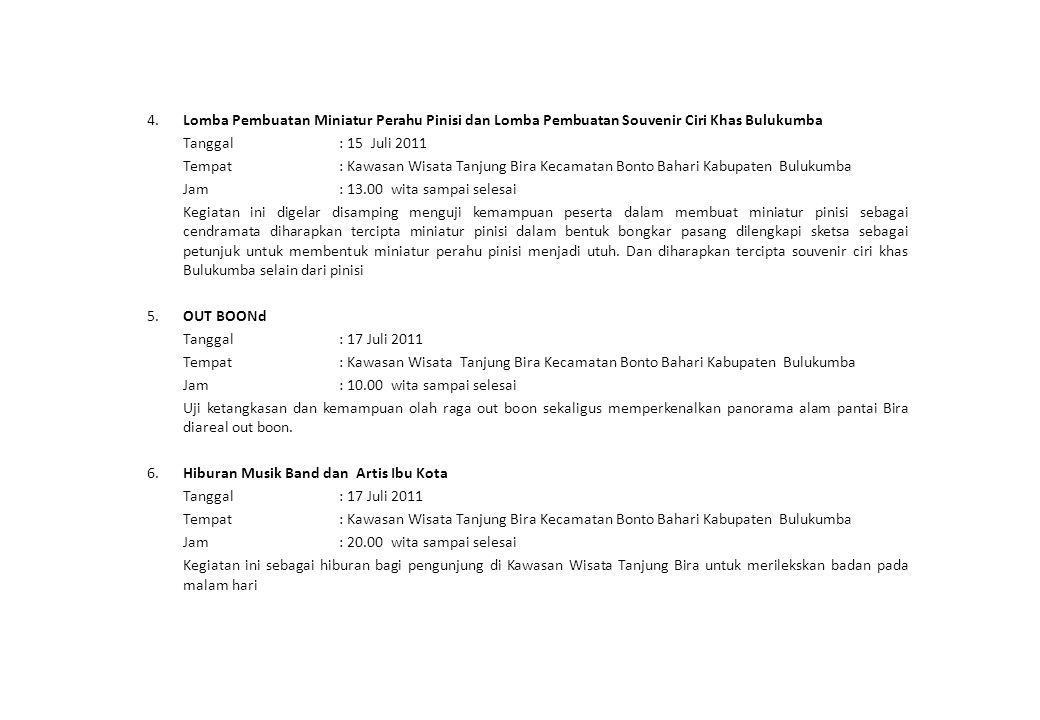 4. Lomba Pembuatan Miniatur Perahu Pinisi dan Lomba Pembuatan Souvenir Ciri Khas Bulukumba Tanggal: 15 Juli 2011 Tempat: Kawasan Wisata Tanjung Bira K