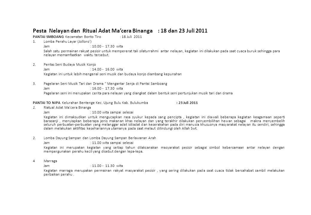 Pesta Nelayan dan Ritual Adat Ma'cera Binanga : 18 dan 23 Juli 2011 PANTAI SMBOANG Kecamatan Bonto Tiro : 18 Juli 2011 1.Lomba Perahu Layar (Jolloro')