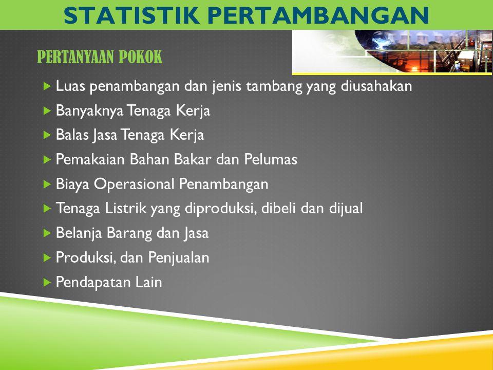 PERTANYAAN POKOK  Luas penambangan dan jenis tambang yang diusahakan  Banyaknya Tenaga Kerja  Balas Jasa Tenaga Kerja  Pemakaian Bahan Bakar dan P