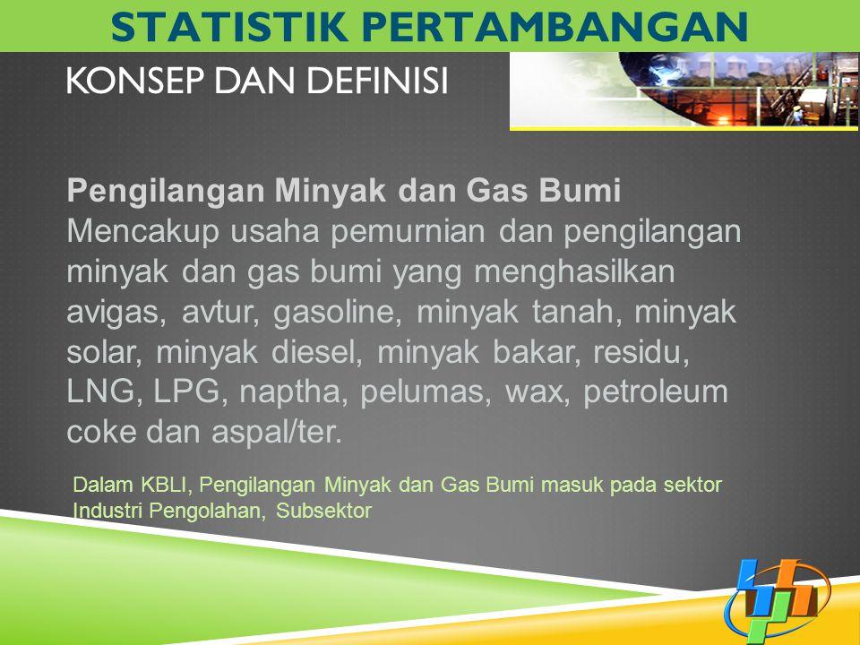 KONSEP DAN DEFINISI Pengilangan Minyak dan Gas Bumi Mencakup usaha pemurnian dan pengilangan minyak dan gas bumi yang menghasilkan avigas, avtur, gaso