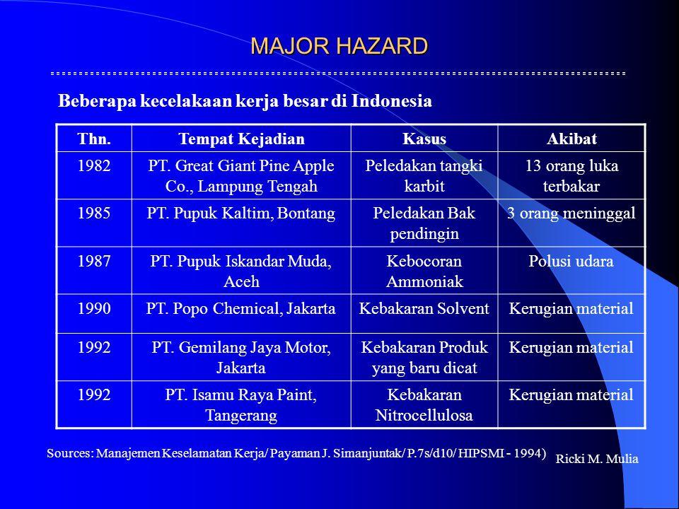 MAJOR HAZARD Ricki M. Mulia Thn.Tempat KejadianKasusAkibat 1982PT. Great Giant Pine Apple Co., Lampung Tengah Peledakan tangki karbit 13 orang luka te