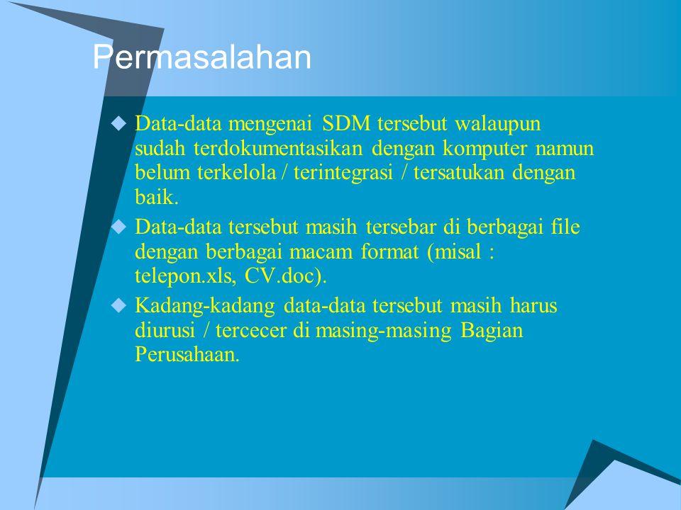 Pemecahan  Perlunya memahami fungsi-fungsi yang dilaksanakan Pihak Manajemen berkaitan dengan Data-data SDM yang sudah ada (existing file).