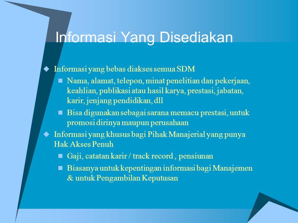 Informasi Yang Disediakan  Informasi yang bebas diakses semua SDM Nama, alamat, telepon, minat penelitian dan pekerjaan, keahlian, publikasi atau has