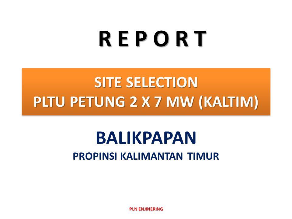 SITE SELECTION PLTU PETUNG 2 X 7 MW (KALTIM) BALIKPAPAN PROPINSI KALIMANTAN TIMUR R E P O R T PLN ENJINERING