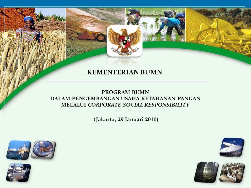 1 PROGRAM BUMN DALAM PENGEMBANGAN USAHA KETAHANAN PANGAN MELALUI CORPORATE SOCIAL RESPONSIBILITY KEMENTERIAN BUMN (Jakarta, 29 Januari 2010)