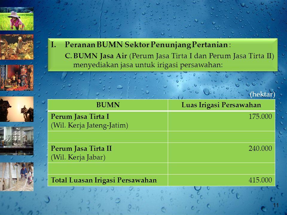 11 (hektar) BUMNLuas Irigasi Persawahan Perum Jasa Tirta I (Wil.