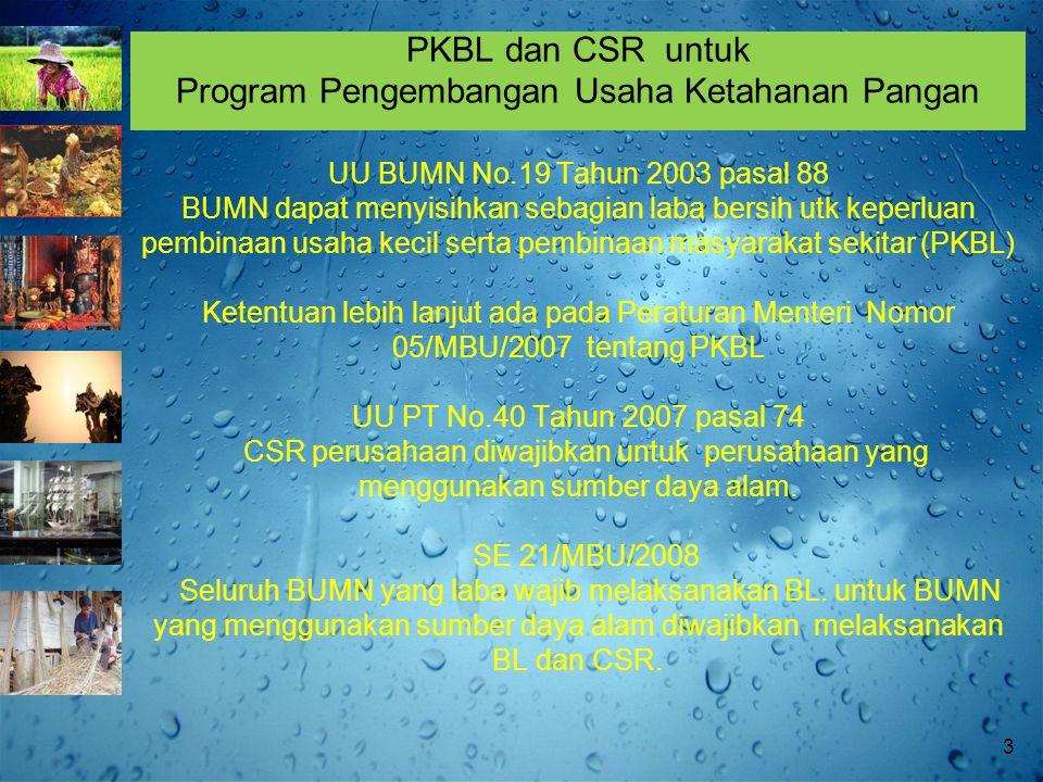 PKBL dan CSR untuk Program Pengembangan Usaha Ketahanan Pangan UU BUMN No.19 Tahun 2003 pasal 88 BUMN dapat menyisihkan sebagian laba bersih utk keperluan pembinaan usaha kecil serta pembinaan masyarakat sekitar (PKBL) Ketentuan lebih lanjut ada pada Peraturan Menteri Nomor 05/MBU/2007 tentang PKBL UU PT No.40 Tahun 2007 pasal 74 CSR perusahaan diwajibkan untuk perusahaan yang menggunakan sumber daya alam.