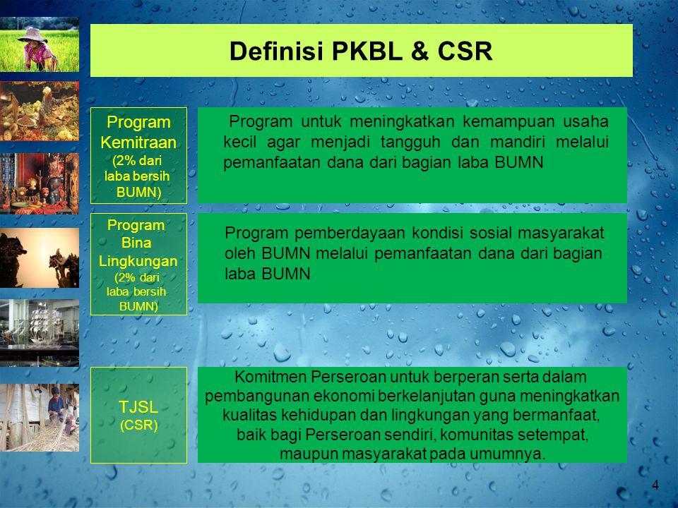 Definisi PKBL & CSR Program untuk meningkatkan kemampuan usaha kecil agar menjadi tangguh dan mandiri melalui pemanfaatan dana dari bagian laba BUMN Program pemberdayaan kondisi sosial masyarakat oleh BUMN melalui pemanfaatan dana dari bagian laba BUMN Program Kemitraan (2% dari laba bersih BUMN) Program Bina Lingkungan (2% dari laba bersih BUMN) Komitmen Perseroan untuk berperan serta dalam pembangunan ekonomi berkelanjutan guna meningkatkan kualitas kehidupan dan lingkungan yang bermanfaat, baik bagi Perseroan sendiri, komunitas setempat, maupun masyarakat pada umumnya.