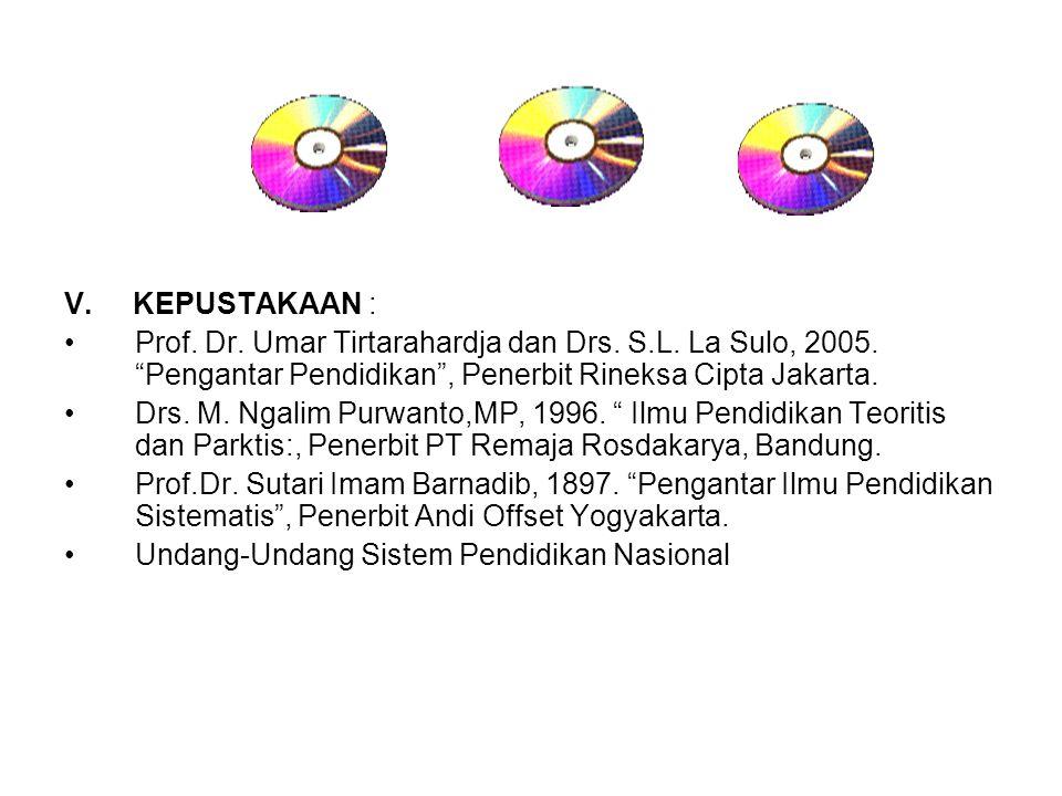 "V. KEPUSTAKAAN : Prof. Dr. Umar Tirtarahardja dan Drs. S.L. La Sulo, 2005. ""Pengantar Pendidikan"", Penerbit Rineksa Cipta Jakarta. Drs. M. Ngalim Purw"