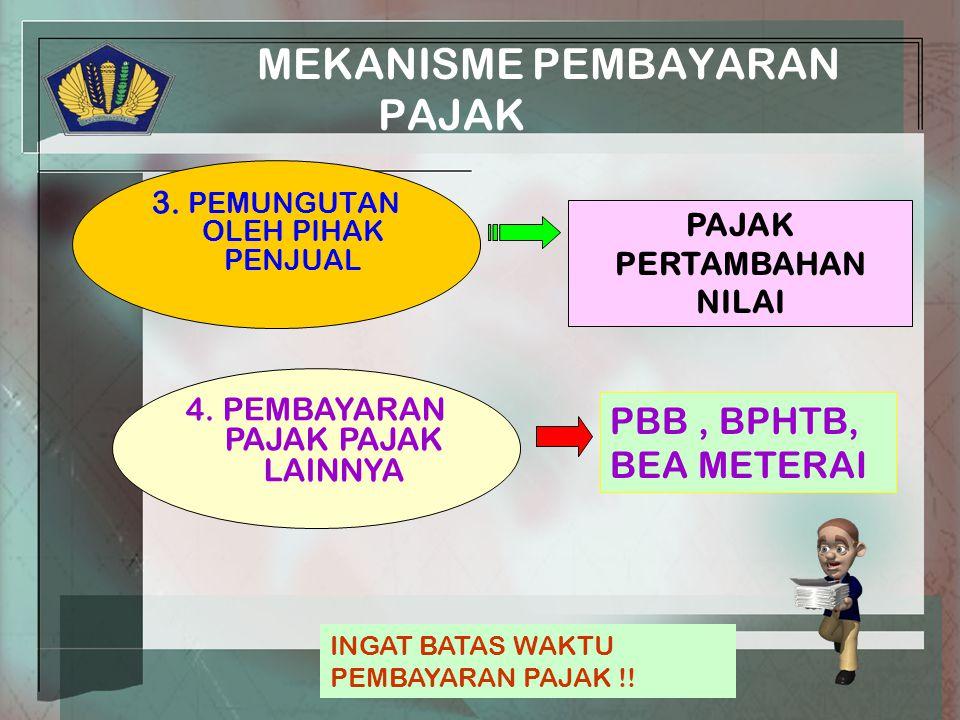 MEKANISME PEMBAYARAN PAJAK 3. PEMUNGUTAN OLEH PIHAK PENJUAL PAJAK PERTAMBAHAN NILAI 4.