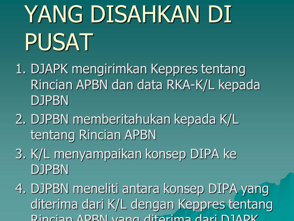 PENYELESAIAN DIPA YANG DISAHKAN DI PUSAT 1.DJAPK mengirimkan Keppres tentang Rincian APBN dan data RKA-K/L kepada DJPBN 2. DJPBN memberitahukan kepada