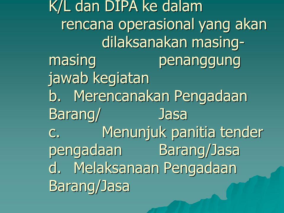 3.Pelaksanaan Kegiatan Kementerian Negara/Lembaga Kuasa Pengguna Anggaran melakukan : a.Menjabarkan rencana kegiatan yang ada di RKA- K/L dan DIPA ke