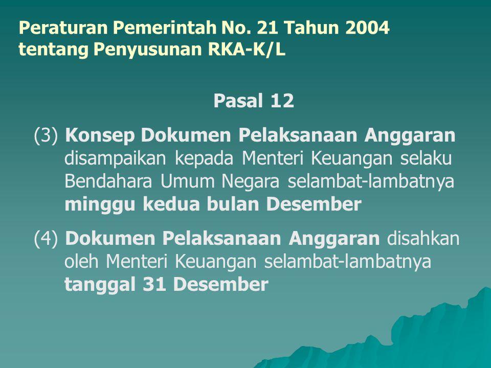 Peraturan Pemerintah No. 21 Tahun 2004 tentang Penyusunan RKA-K/L Pasal 12 (3) Konsep Dokumen Pelaksanaan Anggaran disampaikan kepada Menteri Keuangan