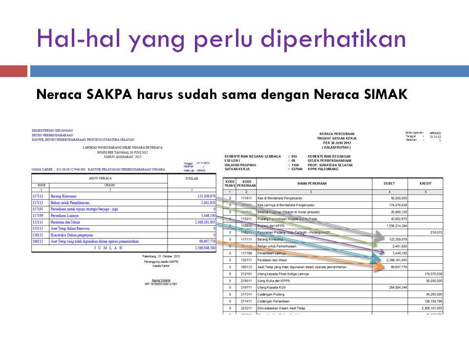 Hal-hal yang perlu diperhatikan Neraca SAKPA harus sudah sama dengan Neraca SIMAK