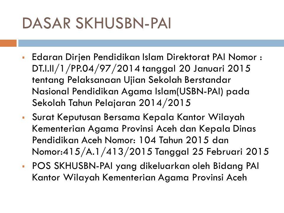 DASAR SKHUSBN-PAI  Edaran Dirjen Pendidikan Islam Direktorat PAI Nomor : DT.I.II/1/PP.04/97/2014 tanggal 20 Januari 2015 tentang Pelaksanaan Ujian Sekolah Berstandar Nasional Pendidikan Agama Islam(USBN-PAI) pada Sekolah Tahun Pelajaran 2014/2015  Surat Keputusan Bersama Kepala Kantor Wilayah Kementerian Agama Provinsi Aceh dan Kepala Dinas Pendidikan Aceh Nomor: 104 Tahun 2015 dan Nomor:415/A.1/413/2015 Tanggal 25 Februari 2015  POS SKHUSBN-PAI yang dikeluarkan oleh Bidang PAI Kantor Wilayah Kementerian Agama Provinsi Aceh