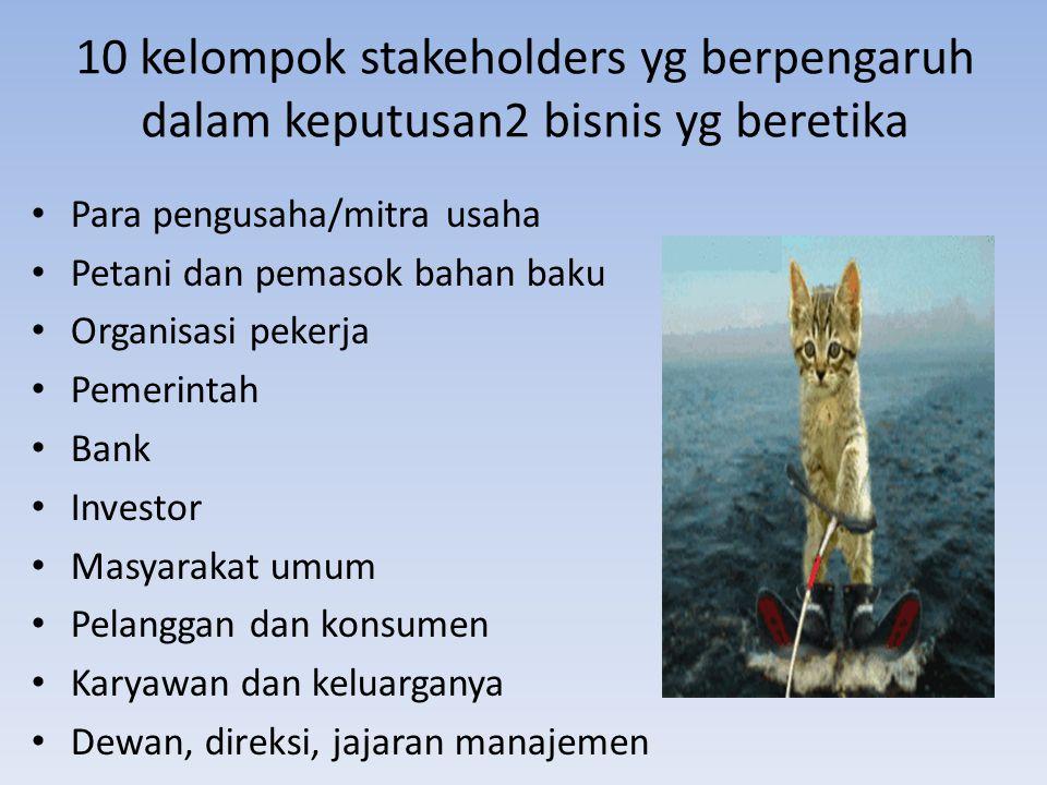 10 kelompok stakeholders yg berpengaruh dalam keputusan2 bisnis yg beretika Para pengusaha/mitra usaha Petani dan pemasok bahan baku Organisasi pekerj