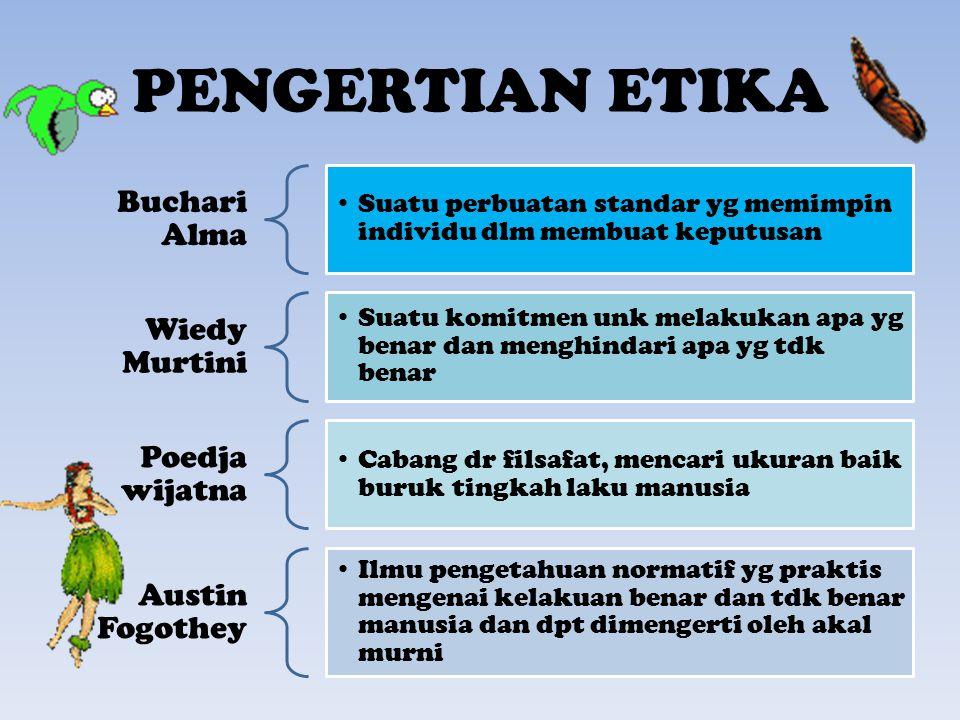 PENGERTIAN ETIKA Buchari Alma Suatu perbuatan standar yg memimpin individu dlm membuat keputusan Wiedy Murtini Suatu komitmen unk melakukan apa yg ben