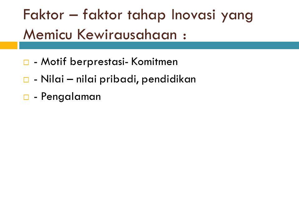 Faktor – faktor tahap Inovasi yang Memicu Kewirausahaan :  - Motif berprestasi- Komitmen  - Nilai – nilai pribadi, pendidikan  - Pengalaman