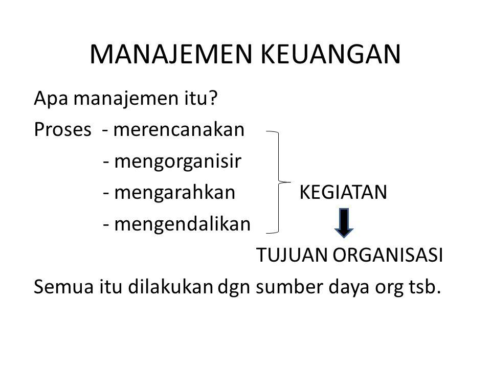MANAJEMEN KEUANGAN Apa manajemen itu? Proses - merencanakan - mengorganisir - mengarahkan KEGIATAN - mengendalikan TUJUAN ORGANISASI Semua itu dilakuk