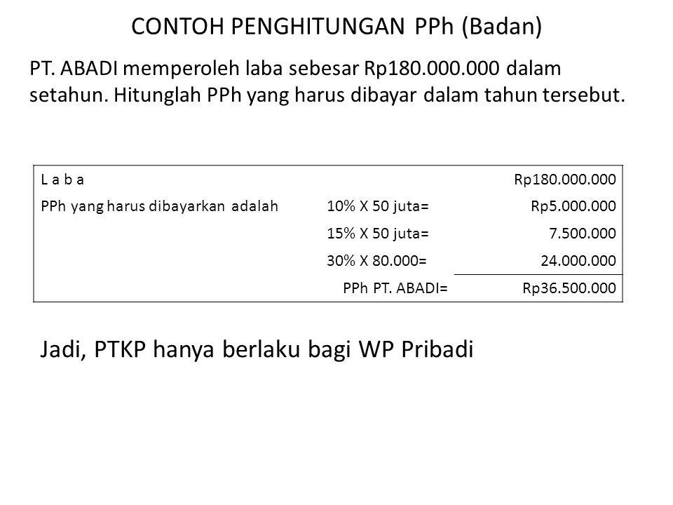 CONTOH PENGHITUNGAN PPh (Badan) PT. ABADI memperoleh laba sebesar Rp180.000.000 dalam setahun. Hitunglah PPh yang harus dibayar dalam tahun tersebut.