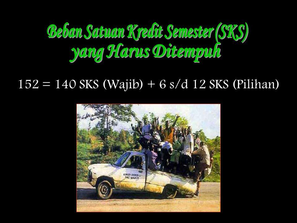 152 = 140 SKS (Wajib) + 6 s/d 12 SKS (Pilihan)