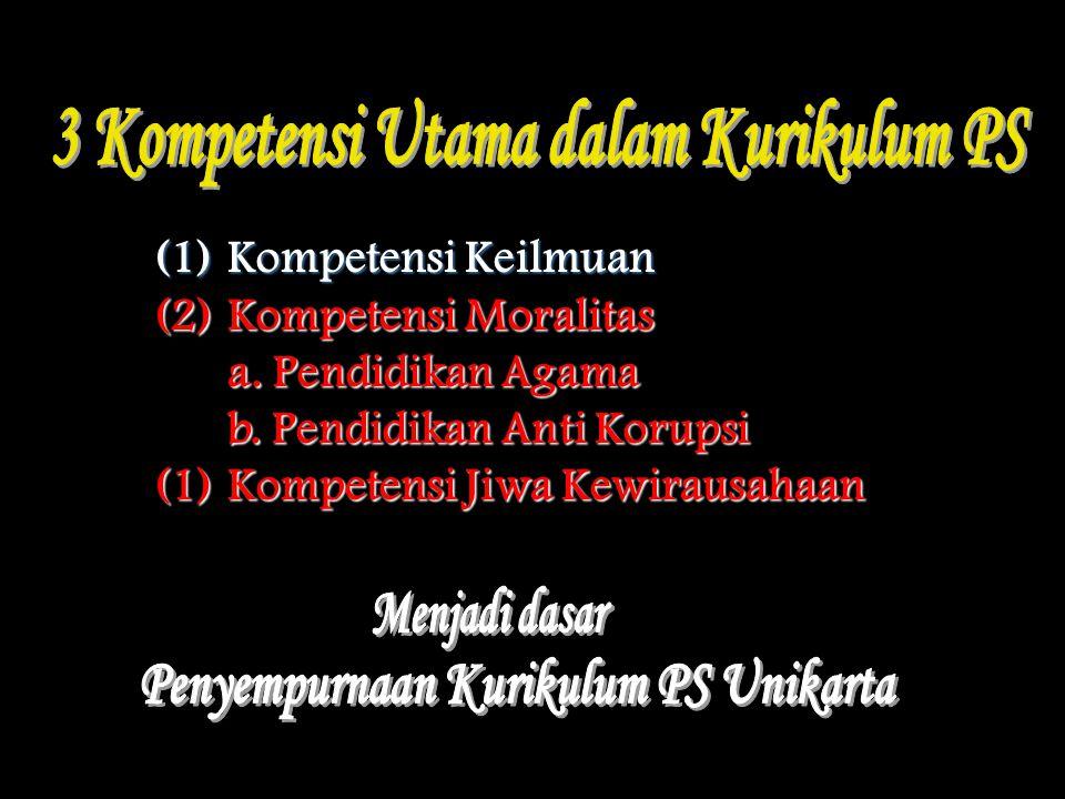 (1)Kompetensi Keilmuan (2)Kompetensi Moralitas a. Pendidikan Agama b. Pendidikan Anti Korupsi (1)Kompetensi Jiwa Kewirausahaan