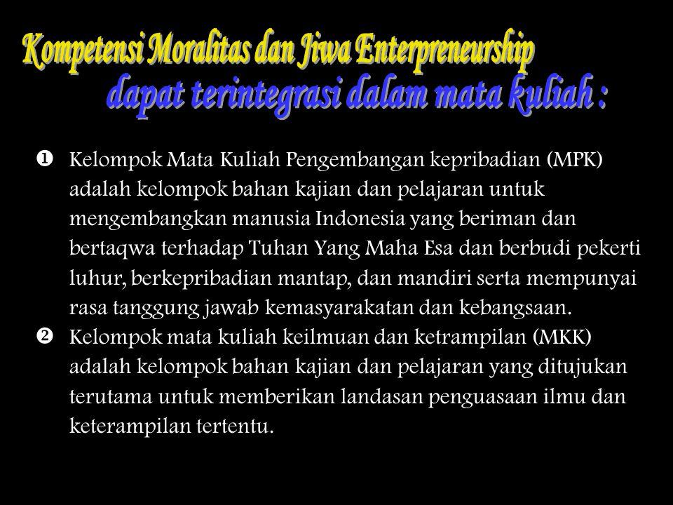  Kelompok Mata Kuliah Pengembangan kepribadian (MPK) adalah kelompok bahan kajian dan pelajaran untuk mengembangkan manusia Indonesia yang beriman da