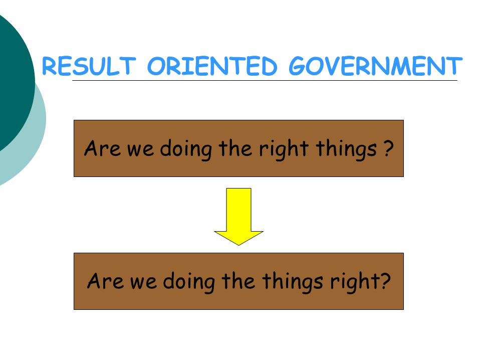 CIRI/KARAKTERISTIK RESULT ORIENTED GOVERNMENT  Clarity about objectives Outcomes  Link between objectives and means Inputs, processes, outputs  Information on results Performance indicators  Targets for results