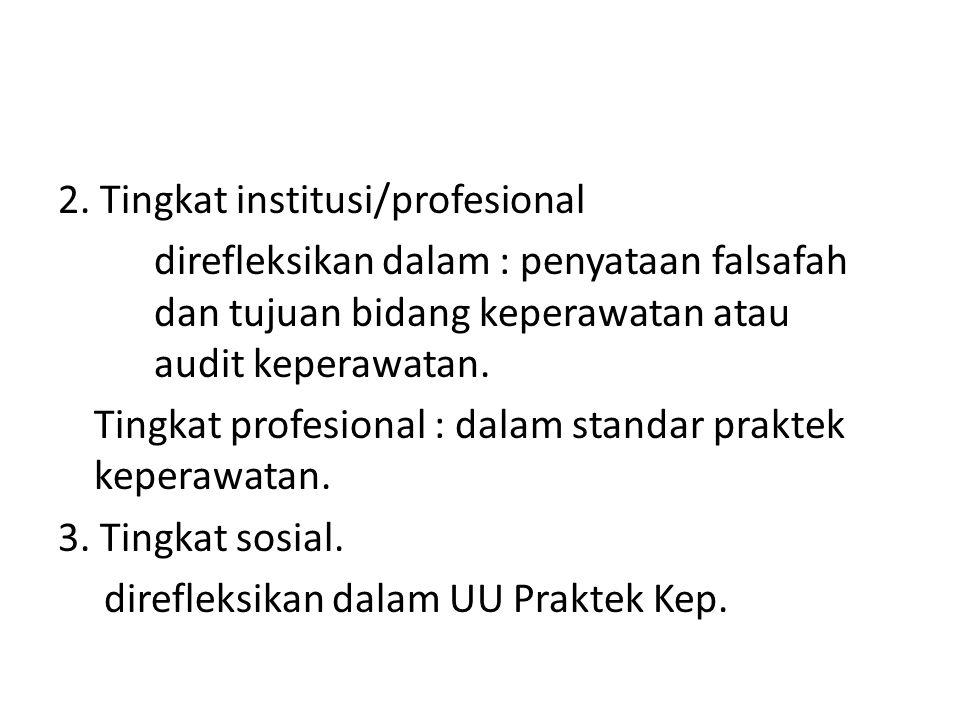 2. Tingkat institusi/profesional direfleksikan dalam : penyataan falsafah dan tujuan bidang keperawatan atau audit keperawatan. Tingkat profesional :