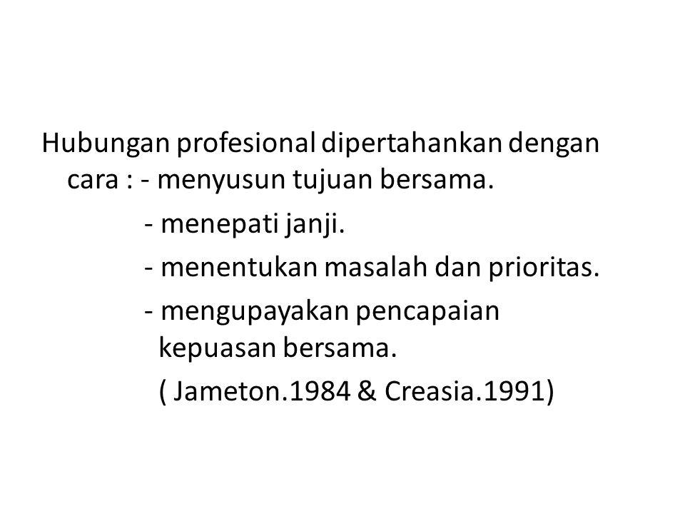 Hubungan profesional dipertahankan dengan cara : - menyusun tujuan bersama.