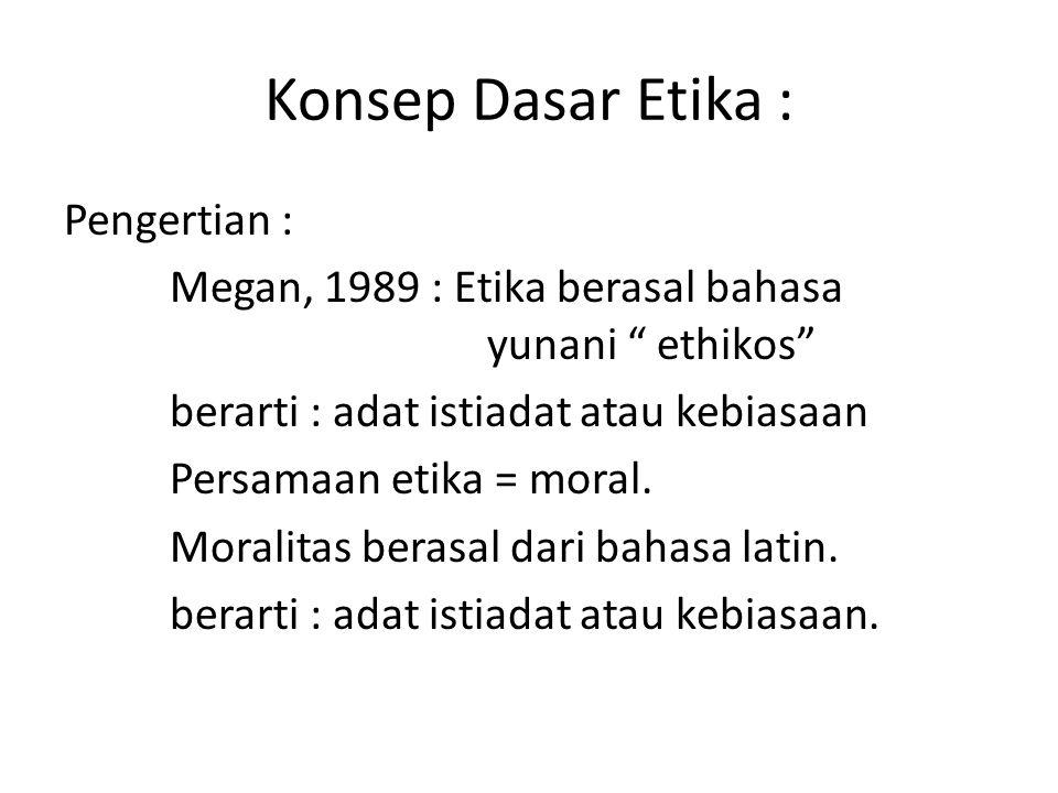 Konsep Dasar Etika : Pengertian : Megan, 1989 : Etika berasal bahasa yunani ethikos berarti : adat istiadat atau kebiasaan Persamaan etika = moral.