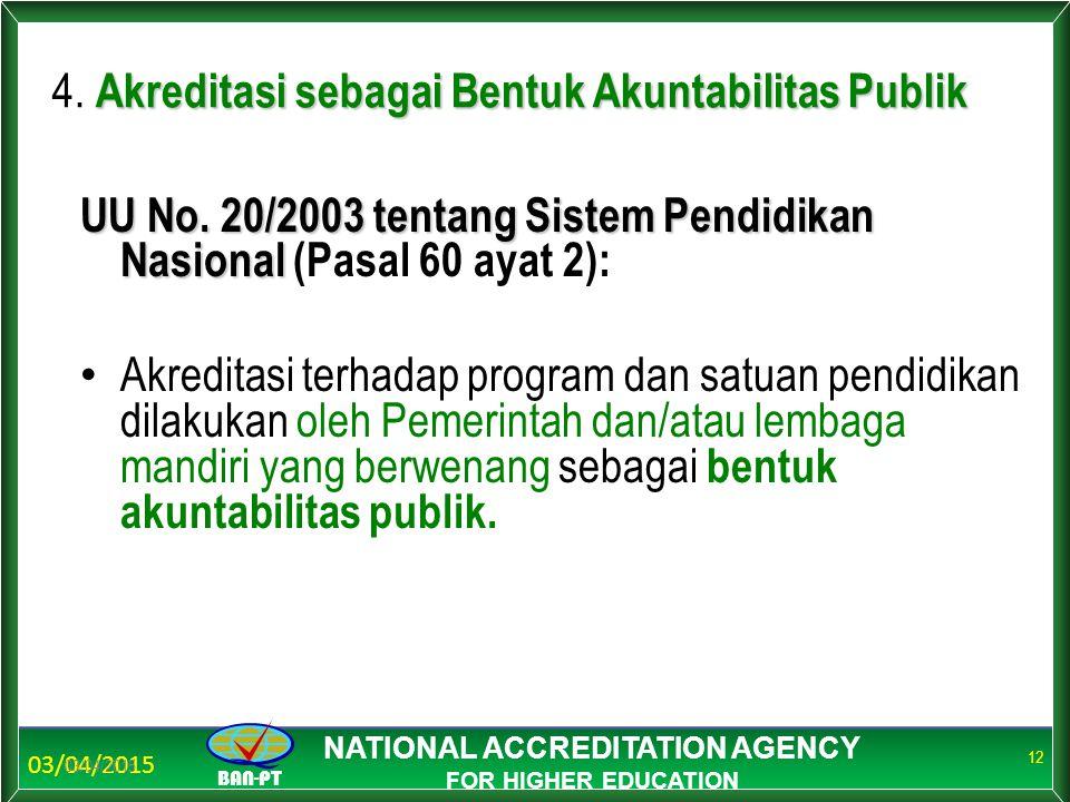 03/04/2015 BAN-PT NATIONAL ACCREDITATION AGENCY FOR HIGHER EDUCATION 03/04/2015 12 Akreditasi sebagai Bentuk Akuntabilitas Publik 4. Akreditasi sebaga