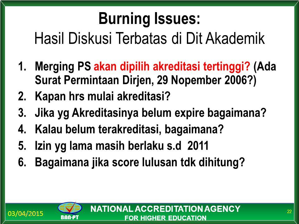 03/04/2015 BAN-PT NATIONAL ACCREDITATION AGENCY FOR HIGHER EDUCATION Burning Issues: Hasil Diskusi Terbatas di Dit Akademik 1.Merging PS akan dipilih