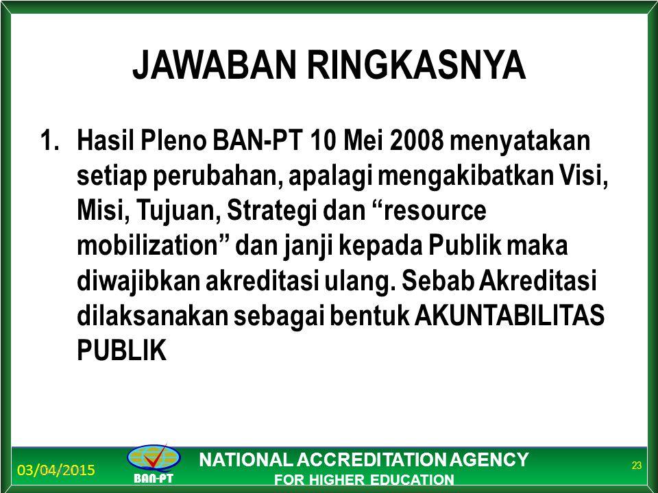03/04/2015 BAN-PT NATIONAL ACCREDITATION AGENCY FOR HIGHER EDUCATION JAWABAN RINGKASNYA 1.Hasil Pleno BAN-PT 10 Mei 2008 menyatakan setiap perubahan,