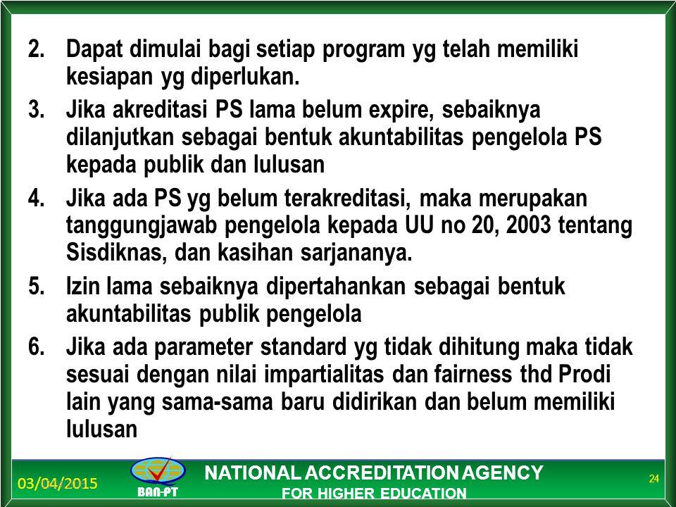 03/04/2015 BAN-PT NATIONAL ACCREDITATION AGENCY FOR HIGHER EDUCATION 2.Dapat dimulai bagi setiap program yg telah memiliki kesiapan yg diperlukan. 3.J