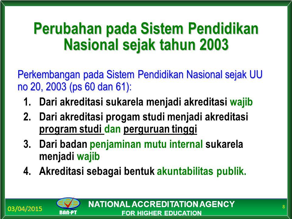 03/04/2015 BAN-PT NATIONAL ACCREDITATION AGENCY FOR HIGHER EDUCATION Perubahan pada Sistem Pendidikan Nasional sejak tahun 2003 03/04/2015 8 Perkemban